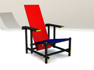 Photoworks rendering of Solidworks model of Rietveld chair