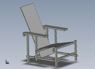 isometric view of Solidworks model of Rietveld chair