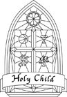 "black & white version of ""Holy Child"" logo"