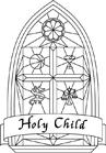 "black & white version of ""Holy Child"" logo"